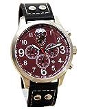 IMC Fliegeruhr Fallschirmjäger Aviator Chronograph Edelstahl Herren Armbanduhr Bordeaux Uhr Edelstahl Lederarmb