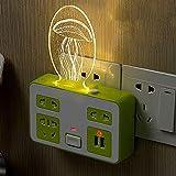 XIAOSHAN Multifunktionale Steckdose Lampe Haushalt Steckdose Adapter mit USB-Stecker Schlafzimmer Nachttisch Säugling Fütterung Kleine Nachtlampe Grün USB PortQuallennicht