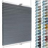 SchattenFreude Waben-Plissee nach Maß für Fenster | 100% verdunkelnd/Blackout | Mit Klemm-Haltern | Klemmfix ohne Bohren | Anthrazit (Weiße Rückseite), Breite: 20-50cm x Höhe: 30-100cm