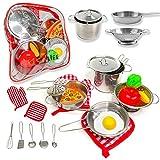 PEGALIFE Küchenspielzeug Kinderküche Zubehör   17-teiliges Kinderküchen-Set: Edelstahl-Kochgeschirr samt Kochhandschuh und Topflappen   Gemüse, Ei und Pizza Spielzeug ab 3 Jahre