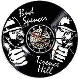 Wanduhr aus Vinyl Schallplattenuhr Upcycling 3D (Bud Spencer Terence Hill) Design-Uhr Wand-Deko Vintage Familien Zimmer Dekoration Kunst Geschenk 30 cm