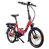 "NCM Paris MAX N8R / N8C E-Bike, E-Faltrad, 250W, 36V 14Ah 504Wh Akku, 20"" Zoll (Rot mit Rücktrittbremse (N8C)"