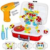 Dreamon Mosaik Steckspiel, 3D Puzzle Spielzeug mit Elektrische Bohrmaschine Pädagogisch konstruktions Spielzeug Kinder Junge Mädchen, 253 PCS