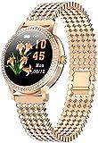 Smartwatch für Frauen Sportuhr Fitness Tracker Frauen Schöne Stahl Uhren IP68 Wasserdicht Armband Herzfrequenz Smart Watch Geschenk für Liebhaber Gold-Gold