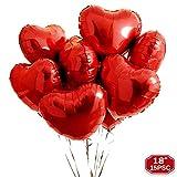 FUNXGO Herzballons in Rot - 18 Zoll / 15 Stück Herzform Heliumballons - Herzluftballons für Luft oder Helium als Geburtstag, Hochzeit Verlobung , Valentinstag oder Party Dekoration (Rot, 18'/15PSC)