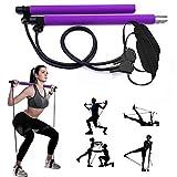 GIKERSY Pilates Stangen Set, mit Widerstandsband, tragbare Yoga Stange, mit Fußschlaufe, für Sport, Fitness für Zuhause, Fitnessstudio, Training, Fitnessgerät, Brust-Expander und Armab