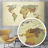 beneart® Weltkarte Vintage - Poster groß - Europakarte - Geschenkideen - Wandbild alt - 140 x 82