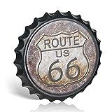 Metallschild 'Route 66' mit Flaschenverschluss, Vintage, Shabby Chic, Garage