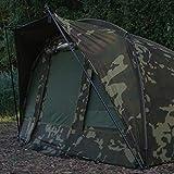 Sonik AXS Camo Bivvy Angelzelt - Karpfenzelt Camouflage mit 10.00mm Wassersäule und 2,6m Durchmesser - Wasserdichtes Zelt Angeln Tarnfarben