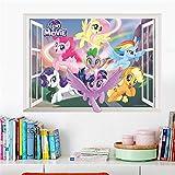 Cartoon My Little Pony Wandaufkleber für Kinderzimmer 3d Fenster Kinderzimmer Wandtattoos Raumdekor Geburtstagsgeschenk Dekor-B