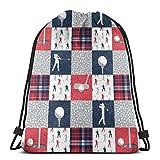 Golftasche mit Kordelzug, Rot / Marineblau, kariert, leicht, für Wandern, Yoga, Fitnessstudio, Schwimmen, Reisen, Strand