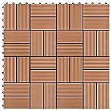WUTINGKONG Material: Holz-Kunststoff-Verbundwerkstoff (WPC) Fußböden Teppichböden Terrassenfliesen 11 Stück WPC 30 x 30 cm 1 qm Braun