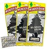 3 Stück Black Classic Wunderbaum Duftbaum und Lufterfrischer inkl. 1 x Glasreinigungstuch von SP Großhandel Gratiszugabe