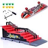 QNFY Mini Finger Skateboard Deck Truck Board mit Rampe Zubehör Sets Fingerboard Skatepark Spielzeug Ultimate Parks Trainings Requisiten (Szene F)
