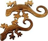 Guru-Shop Geschnitztes Wandbild Deko Wandrelief Gecko in 2 Größen - Links, Holz, Größe: Klein (16x10x2,5 Cm), Masken & Wandschmuck