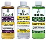 TERLANS Hilfsmittel für die Ölmalerei 3 x 250 ml/Terpentinersatz, komplett geruchlos/Walnussöl/Ölpinselreinig