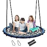 ZLI Nestschaukel Outdoor Spider Web Swing 40', Geräumige 100cm Kids Rund Hanging Net Swing - Toll für Baum/Hinterhof/Spielplatz/Spielzimmer, Zubehör Inklusive