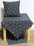 Hossner Heimtex Tischdecke Tischläufer Mitteldecke Tischset Kissenbezüge grau mit Hirsch Motiv in beige Landhausstil (Kissenhülle 50 x 50 cm)