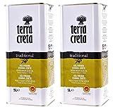 2x 5,0l Kanister Terra Creta Olivenöl P.D.O. Kolymvari | Extra natives Olivenöl von Kreta | + 1 x 20ml Olivenöl'ElaioGi' aus G