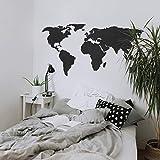 K&L Wall Art MDF Holz Schwarz Holzdeko 3D Weltkarte Wanddeko World Map (150x74cm schwarz)