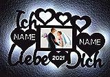deko Schlummerlicht Nachtlicht Ich liebe dich Herzen mit Bilderrahmen, Herzchen Herz personalisiert mit Wunsch Namen lieb