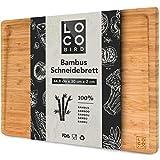 Loco Bird massives Bambus Schneidebrett mit Saftrille - 44,8x30x2 cm großes Holz-Brett für die Küche - XXL Tranchierbrett - Antibakterielles Holzbrett