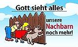 Fanshop Lünen Fahne - Flagge - Gott Sieht Alles - unsere NACHBARN noch mehr - 90x150 cm - Hissfahne mit Ösen - Hißfahne - Hund - Kinder -