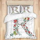 CANCAKA Bettbezug-Set, grüne Initiale Aquarell Royal Floral Monogramm R in ABC, Mikrofaser Bettwäsche-Sets 200 x 200 cm mit 2 Kissenbezügen 50 x 80 cm, Doppelbettgröße