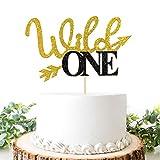 Wild One Kuchendekoration, Gold und Schwarz, Glitzer, Junge oder Mädchen zum 1. Geburtstag/Babyparty, Kuchendekoration, Monogramm, Foto-Requisiten, Doppelfarb