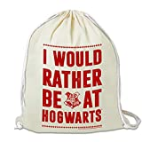 Logoshirt - Harry Potter - I Would Rather Be At Hogwarts - Sportbeutel - Turnbeutel - schwarz - Lizenziertes Original Design