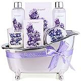 Wellness Set für Frauen - Body & Earth 6pcs Lavendel Geschenkset für Frauen mit Duschgel, Schaumbad und Badesalz, Beste Geschenk für Sie,Geschenk für M