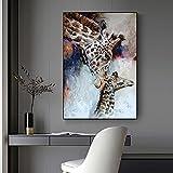 XIANGPEIFBH Leinwand Malerei Giraffe Poster Aquarell Tierbilder Wandkunst für Wohnzimmer Moderne Wohnkultur Monther and Son 60x80cm Ungerahmt