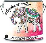 elephant color Holzschutzfarbe Holzlack Holzlasur wetterbeständiger Langzeitschutz Wetterschutzfarbe (100 ml, hellgrün metallic)