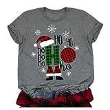 Zylione Damen T-Shirt Weihnachtsshirt Männer Drucken Kurzarm T-Shirt Bluse Mit Rundhals-Ausschnitt Fun Weihnachts-Shirt Weihnachten Geschenk Xmas Party