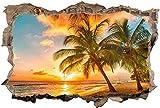 3D Wandtattoo Mauerloch Wandsticker Wandaufkleber Durchbruch selbstklebend Schlafzimmer Wohnzimmer Kinderzimmer,Sonnenuntergang Palmen Strand,Größe: 50x75cm