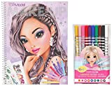 Depesche 10728 - Malbuch, TOPModel Create your Make-Up, ca. 24 x 19,5 x 1 cm (1, Malbuch + Magic Fasermaler)
