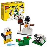 LEGO 11012 Classic Kreativ-Bauset mit weißen Bausteinen, Bauset für Kinder, Spielzeug ab 4 Jahren mit Schneemann, Schaf und mehr