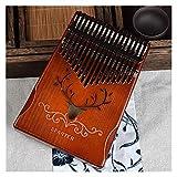 TZZD Kalimba Daumenklavier mit 17 Tasten, Mahagoni-Körper, Musikinstrument für Anfänger, Kinder und Profis. Farbe: Rentierkaffee GUD