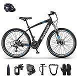 E-Bike klapprad Elektrofahrrad 26' für Erwachsene, Ebikes Fahrräder All Terrain 21 Geschwindigkeit und 36V/ 10AHLithium Batterie (Blau)
