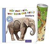 Hör mal rein, wer kann das sein? - Zootiere (Pappbilderbuch) + Zoo-Wimmelposter, Foto-Streichel-Soundbuch ab 18 M