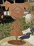 Edelrost Figur Doodle Familie auf Bodenplatte zur Auswahl Garten Dekoration Geschenk (Metall, Mädchen Sophie)