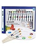 ATMOKO Acrylfarben Set, 12 x 12 ML Acrylfarben mit Mischpalette und 4 Stück Künstlerpinsel, Ungiftige Acrylfarben Set ist Perfekt für Anfänger, Künstler