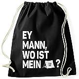MoonWorks® Turnbeutel Spruch lustig Ey Mann, wo ist Mein Zeltt? Stoffbeutel Gymbag Festival-Tasche Party-Tasche schwarz Unisize