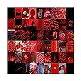 XSJK 50 stücke Rot Ton Fluoreszenz Neon Ästhetische Blumen Bilder Wandaufkleber Collage Kits Fotos Sammlung Schlafzimmer Dekor 724
