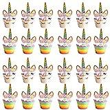 24PCS Einhorn Cupcake Topper, Cupcake Wrapper Set Muffin Dessert Kuchen Dekorationen für Baby-Dusche Mädchen Kinder Geburtstagsfeier Dekor