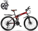 Mountainbike für Erwachsene, zusammenklappbar, für Studenten, Auto, 26 Zoll (66 cm), Radsatz, doppelte Scheibenbremse, Klapprad, Citybike, Citybike, Citybike, 27 Gänge, Rot
