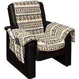Brandsseller Sesselschoner Sesselüberwurf Sesselauflage Sesselbezug Polster kuschelweich in Lammflor-Optik - mit seitlichen Taschen - Gemustert