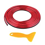 Keenso Auto Zierleisten, Auto 5m Innen Zierleisten Auto-Innenverkleidung Schlitze Zierstreifen Dekorativer Streifen(Rot)