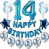 Haosell 14. Geburtstag Dekoration Blau Jungen Set, Geburtstagsdeko Jungen Blau 14 Jahre, Kindergeburtstag Deko blau 14 Jahre für Jungen Happy Birthday Girlande Banner Folienballon Konfetti Luftballon