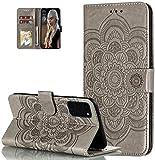 LEMAXELERS Moto G9 Plus Hülle,Für Motorola Moto G9 Plus Handyhülle Prägung Mandala-Blume Flip Case PU Leder Cover Magnet Schutzhülle Ständer Handytasche für Motorola Moto G9 Plus,LD Mandala Gray